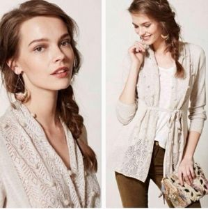 🎉Anthro Knitted & Knotted Ivory Silk Pom Cardigan